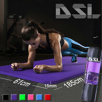£13.99 • Buy 61x 185cm Yoga Mat 15mm Thick Gym Exercise Fitness Pilates Workout Mat Non Slip