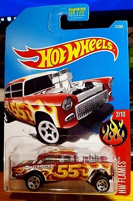 Hot Wheels * Flames * '55 Chevy Bel Air Gasser * Red * Kmart Exclusive * • 6$