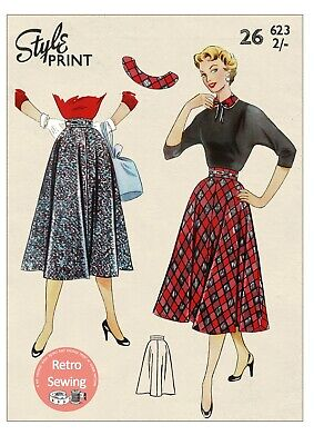 1950's Softly Flared Four Panel Rockabilly Style Skirt Pattern Waist 26  • 16.99£
