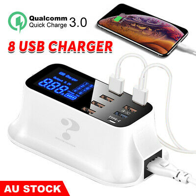 AU32.85 • Buy 8 Ports QC 3.0 Type C USB Charger Fast Charging Station Hub Desktop Wall 40W/8A