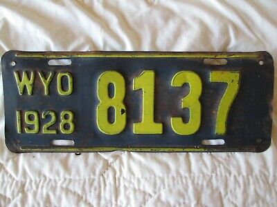 1928 Wyoming License Plate #8137 Black And Yellow Not Bad • 43.67$