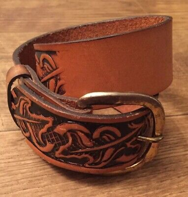 $11.94 • Buy Boys Brown Leather Belt 24  Leather W 2  Buckle Handmade Pre-owned Never Wore