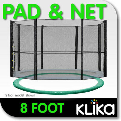 AU95 • Buy GREEN 8ft REPLACEMENT OUTDOOR TRAMPOLINE SAFETY NET AND SPRING PAD COVER