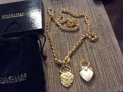 2 Piece Joan Rivers Gold Plated Mixed Heart Pendant Necklace Lot • 15.95$