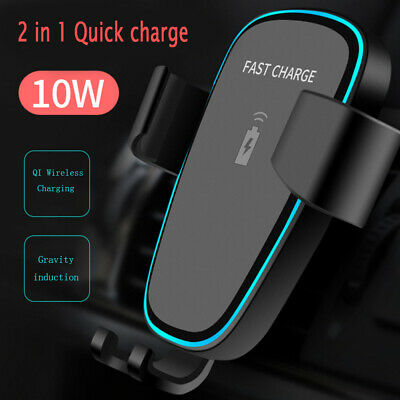 AU13.29 • Buy QI Wireless Charger Car Charging Phone Mount Holder For Ip XS XR Samsung S9 Note
