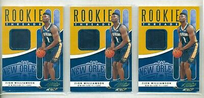 2019-20 Absolute Zion Williamson Pelicans Rookie Threads Jersey 3 Card Lot (SV) • 18.75$