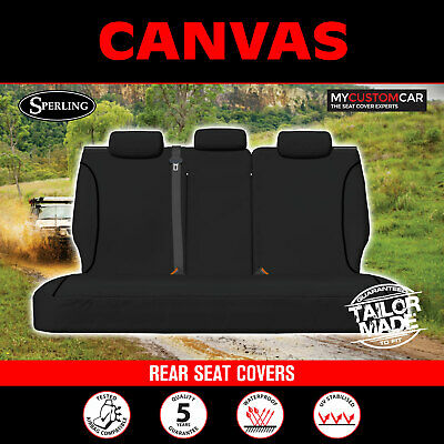 AU219 • Buy Ssangyong Musso Q200 Dual Cab 2018-On Custom Black Canvas REAR Seat Covers