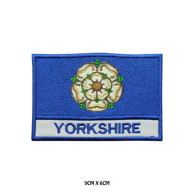 YORKSHIRE County Flag With Name Embroidered Patch Iron On Sew On Badge  • 1.99£