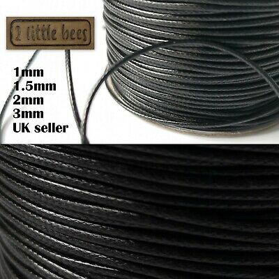 £2.75 • Buy Waxed Polyester Cord Black 1/1.5/2mm Necklace Jewellery Rope String Thread