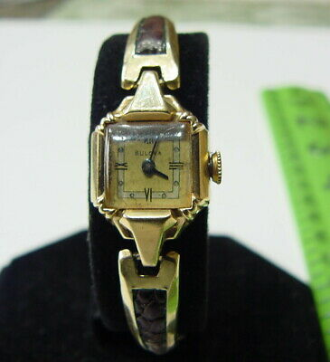 1948 BULOVA 21J Womans Her Excellency 14K Solid GOLD Variant S WRIST WATCH Works • 125$