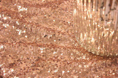 Rose Gold 3mm Sequin Fabric Bling Sparkly Material By Meters 130cm Wide • 8.50£