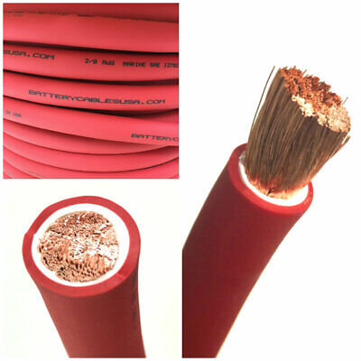 AU7.64 • Buy 2/0 AWG 00 Gauge Battery Cable Red By The Foot OFC Copper Power Wire Made In USA