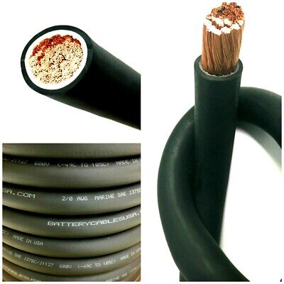 2/0 AWG 00 Gauge Battery Cable Black By The Ft OFC Copper Power Wire Made In USA • 5.54$