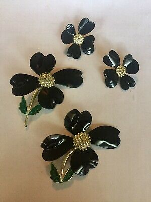 Vintage Sarah Coventry Set Black Dogwood Brooch And Earrings • 13.99$