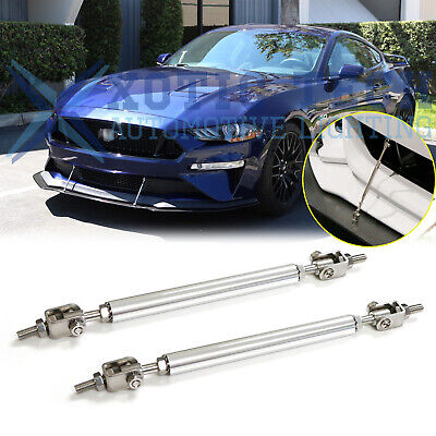 $10.87 • Buy For Ford Mustang Adjustable Chrome Front Bumper Lip Splitter Strut Rod Tie Bars