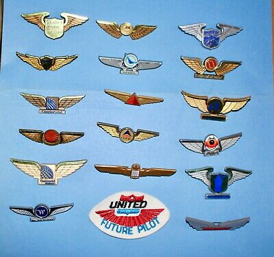18 United Delta Psa Airlines Airports Junior Jr Pilot Kid Kiddie Wings Patch Lot • 29.50$