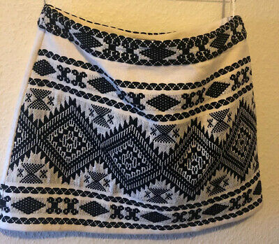Topshop Cream Black & Silver Thread Ethnic Look Short Skirt Size 12 • 3.50£
