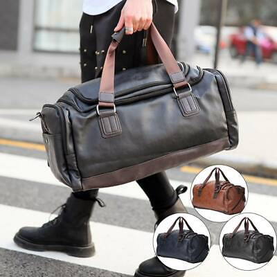Mens Leather Duffle Weekend Bag Gym Large Travel Womens Luggage Handbag Holdall • 15.99£