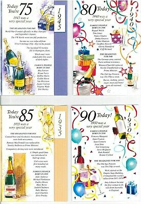 Simon Elvin 2020 Year You Were Born Birthday Cards - Male 75 80 85 90 • 1.89£