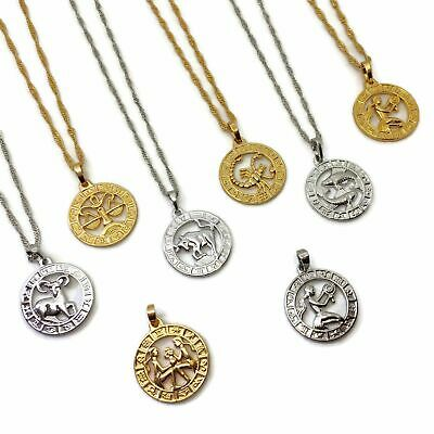 £6.99 • Buy Circle Stainless Steel Horoscope Necklace L FREE UK POST Gold Silver Zodiac Coin