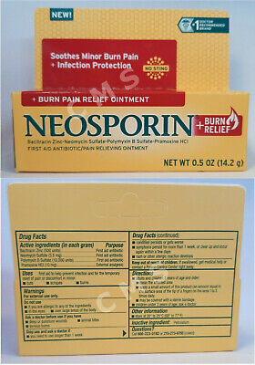 NEOSPORIN Maximum Strength Burn Pain Relief First Aid Ointment 0.5oz 14.2g USA • 5.84£