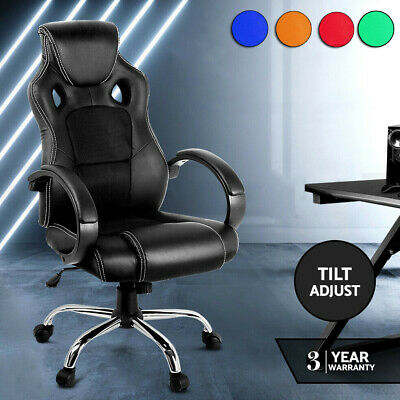 AU112.99 • Buy Gaming Chair Office Computer Leather Chairs Racer Executive Seat Mesh