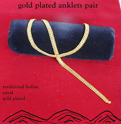£9.95 • Buy Stunning Gold Plated Anklet Ankle Chain Indian Payal Bollywood  Pair