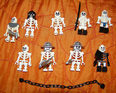 $29.99 • Buy LEGO Monster Skeleton Minifigs X9 Lot With Weapons Helmets And Lg Chain
