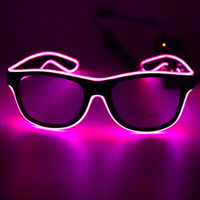 LED Glasses 10 Colors Optional Light Up El Wire Neon Rave Glasses Twinkle F1S1 • 5.62£