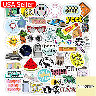 $5.50 • Buy 50pcs USA Cute VSCO Stickers For Water Bottles Hydro Flask Laptop For Teen Girls