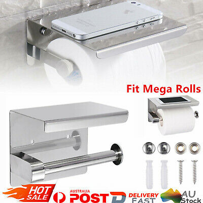 AU20.01 • Buy 304 Stainless Steel Toilet Paper Roll Holder With Phone Shelf Polished Chrome