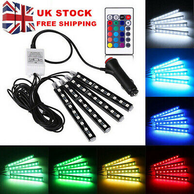 12V LED Strip Lights Car Interior - 36 Mood Footwell Dimmable Ambient... • 10.95£