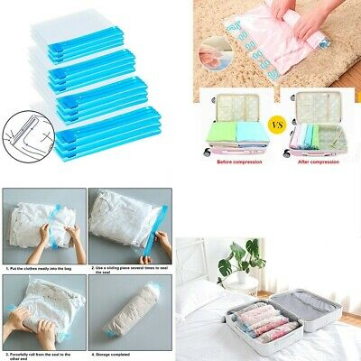 £2.99 • Buy Roll Up Compression Vacuum Storage Bag Travel Home Luggage Space Saver 70 X 50cm
