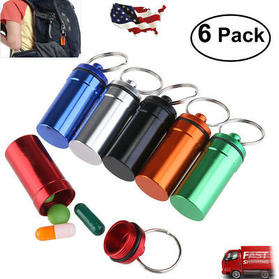 $7.99 • Buy Waterproof 6pcs Aluminum Pill Box Case Bottle Drug Holder Keychain Container New