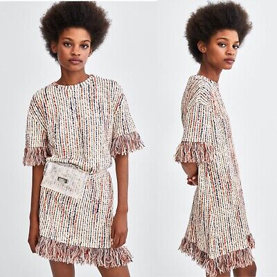 $26.99 • Buy NWT Zara Jacquard Dress With Fringe Size S