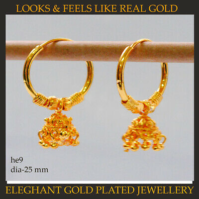 Gold Plated Round  Earrings,Indian Bollywood Hoops Earrings • 9.95£