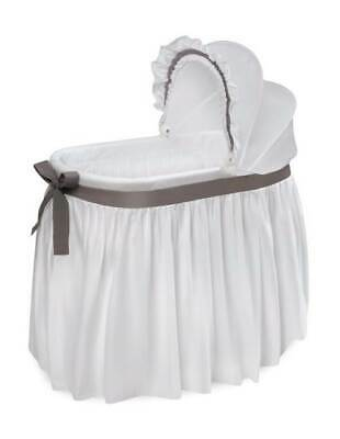 $76.95 • Buy Wishes Oval Bassinet With Full Length Skirt In White And Gray [ID 3708097]