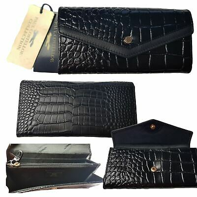 Womens Real Leather Purse Paul Costelloe Designer Collection Croc Black RRP £69 • 25£