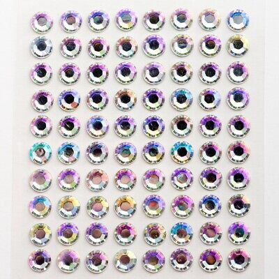 Self Adhesive Stick On Diamante Gem Craft Stickers - AB Clear 2,3,4,5,6,8,10mm • 2.03£