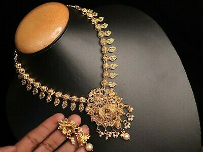 $14.99 • Buy Temple Jewelry Set Necklace Gold Plated Choker Indian Wedding Earrings Jewellery