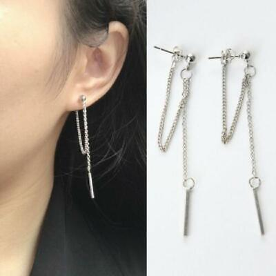 Double Tassel Sliver Chain Bar Dangle Drop Earring Kpop Korean Fashion Jewelry • 2.05£