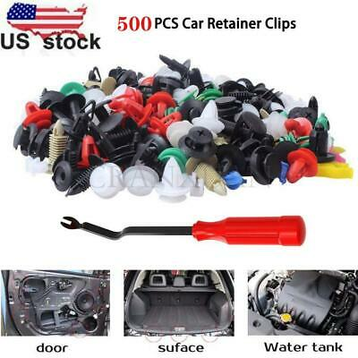 $8.78 • Buy 500PCS Plastic Rivets Fastener Fender Bumper Push Pin Clips With Remover Tool