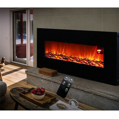 1800W Electric 30/50Inch Fireplace Suite LED Insert Wall Mounte Fire Log Burning • 309.95£