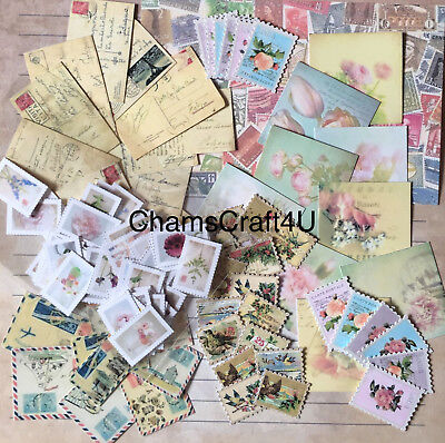 Craft Clearout Mix, Card Toppers / Paper Die Cuts, Bundle Joblot Vintage Stamps • 4.99£