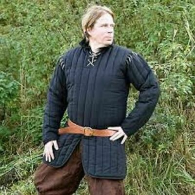New Gambeson Medieval Blue Color Clothing Padded Full Sleeves Armor Reenactment • 59.33£