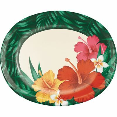 Tropical Flowers 12 Inch Oval Paper Plates Luau Party Supplies Decorations • 3.79£