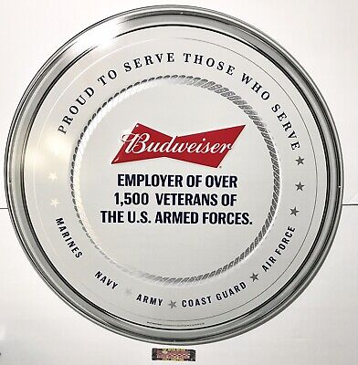"$ CDN79.21 • Buy Budweiser Armed Forces Proud To Serve Metal Beer Sign 24"" - Brand New In Box!"
