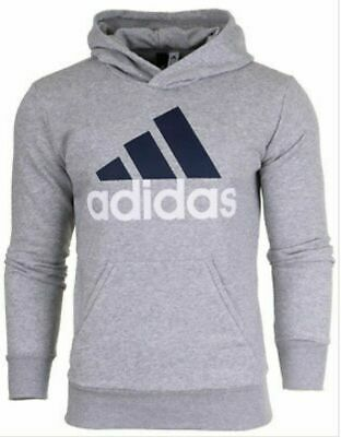 Mens Adidas S98775 ESS Fleece Hoodie Grey Hooded Sports Tracksuit Top Size XL • 34.99£