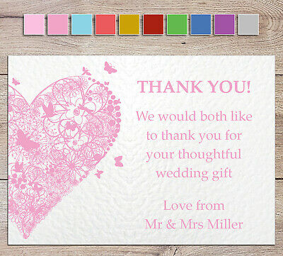 £4 • Buy Personalised Wedding Thank You Cards - Handmade + Envelopes Heart & Butterflies