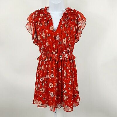 $20 • Buy Zara Basic Womens XLarge Floral Red Dress Ruffles